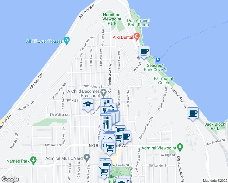 map of restaurants, bars, coffee shops, grocery stores, and more near 1914 Ferry Avenue Southwest in Seattle
