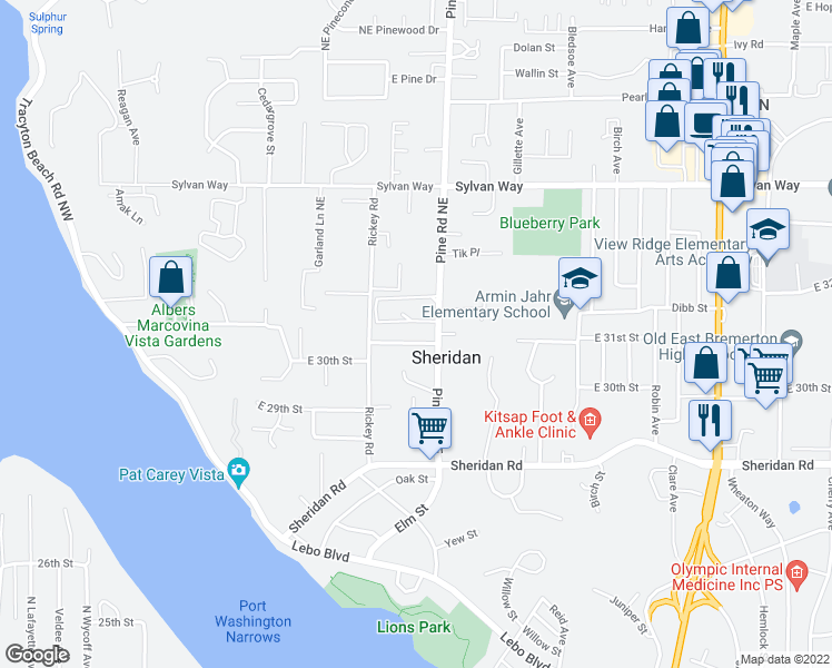 map of restaurants, bars, coffee shops, grocery stores, and more near 422 East 31st Street in Bremerton