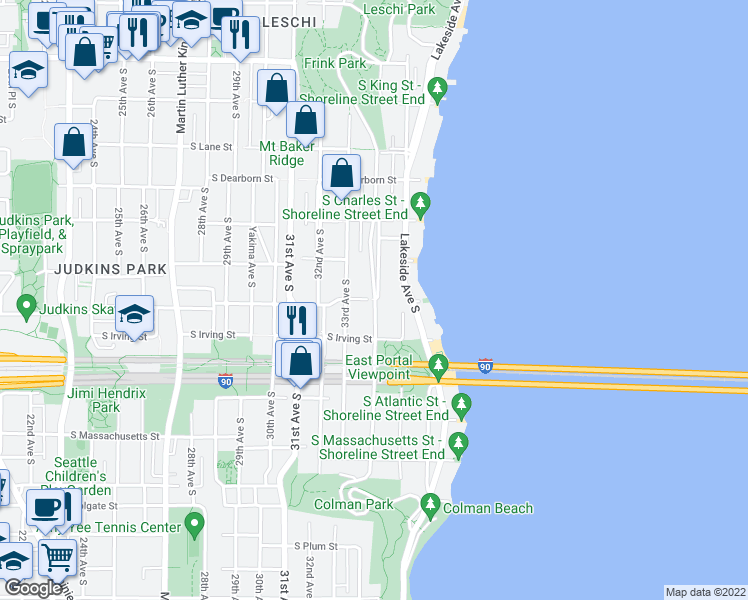 map of restaurants, bars, coffee shops, grocery stores, and more near 1301 Lake Washington Blvd S in Seattle