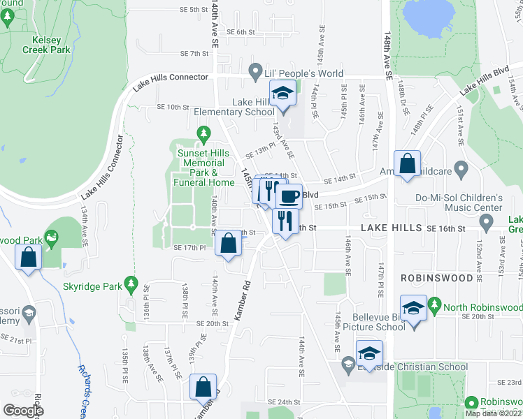 map of restaurants, bars, coffee shops, grocery stores, and more near 14673 Northeast 29th Place in Bellevue