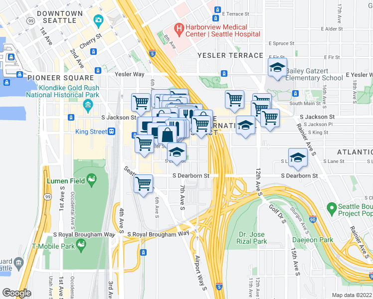 map of restaurants, bars, coffee shops, grocery stores, and more near 705 South Weller Street in Seattle