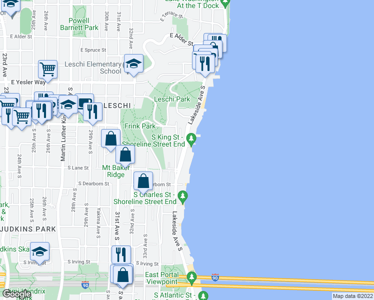 map of restaurants, bars, coffee shops, grocery stores, and more near 3500 S King St in Seattle