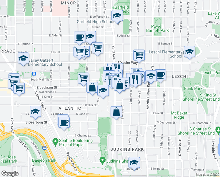 map of restaurants, bars, coffee shops, grocery stores, and more near 2201 South Jackson Street in Seattle
