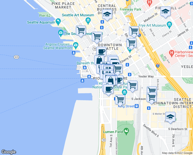map of restaurants, bars, coffee shops, grocery stores, and more near 199 Alaskan Way S in Seattle