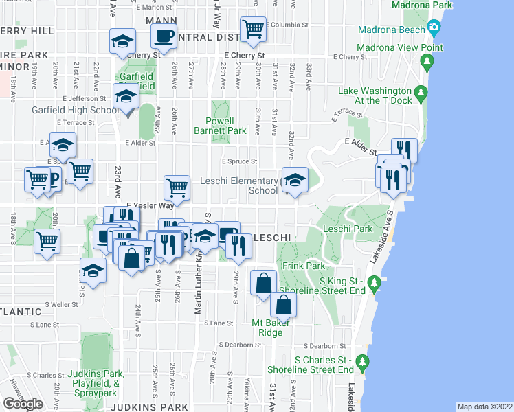 map of restaurants, bars, coffee shops, grocery stores, and more near East Yesler Way & 30th Avenue in Seattle