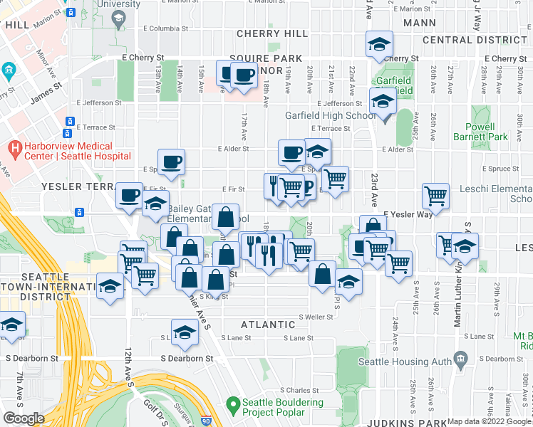 map of restaurants, bars, coffee shops, grocery stores, and more near 1801 East Yesler Way in Seattle