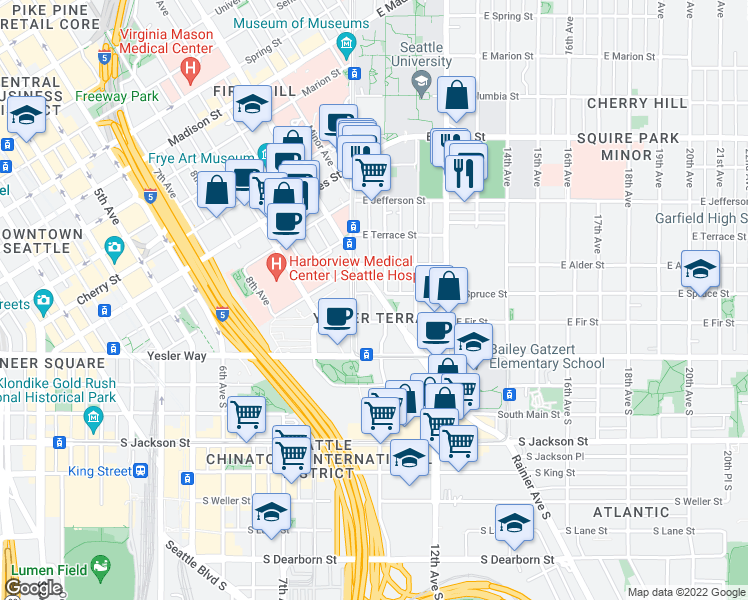 map of restaurants, bars, coffee shops, grocery stores, and more near 230 Broadway in Seattle