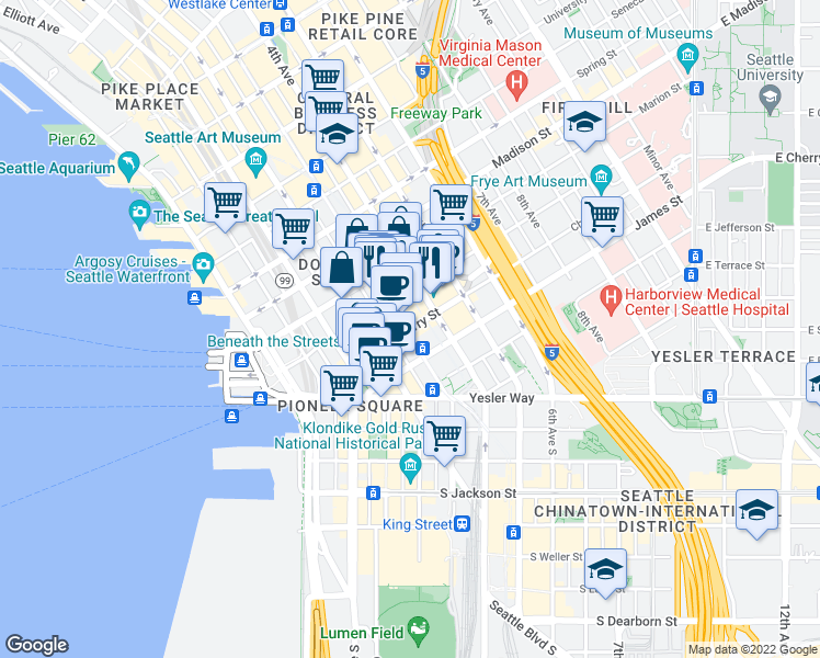 map of restaurants, bars, coffee shops, grocery stores, and more near 306 Cherry St in Seattle