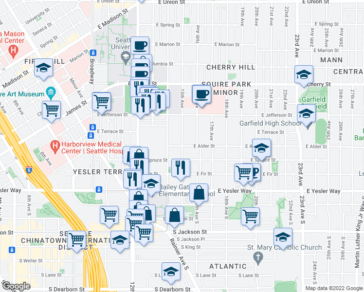 map of restaurants, bars, coffee shops, grocery stores, and more near E Alder St & 15th Ave in Seattle