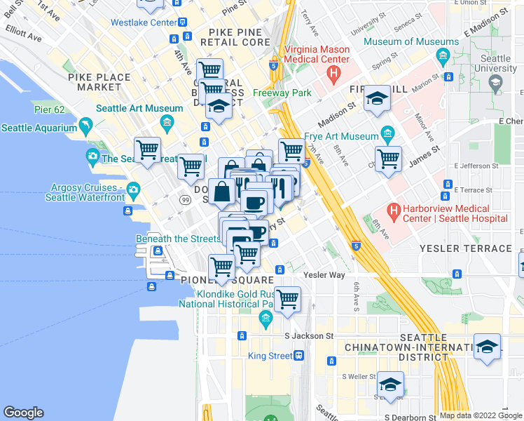 map of restaurants, bars, coffee shops, grocery stores, and more near 722 3rd Avenue in Seattle