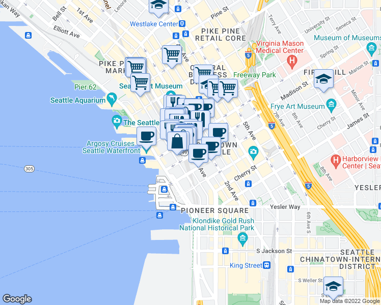 map of restaurants, bars, coffee shops, grocery stores, and more near 1103 1st Avenue in Seattle