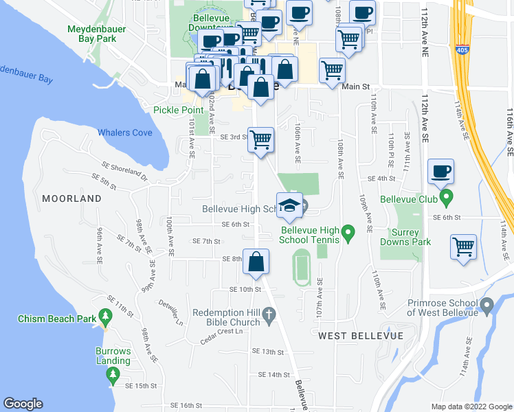 map of restaurants, bars, coffee shops, grocery stores, and more near 527 Bellevue Way Southeast in Bellevue