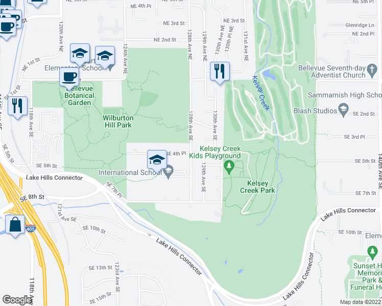 map of restaurants, bars, coffee shops, grocery stores, and more near 432 128th Avenue Southeast in Bellevue
