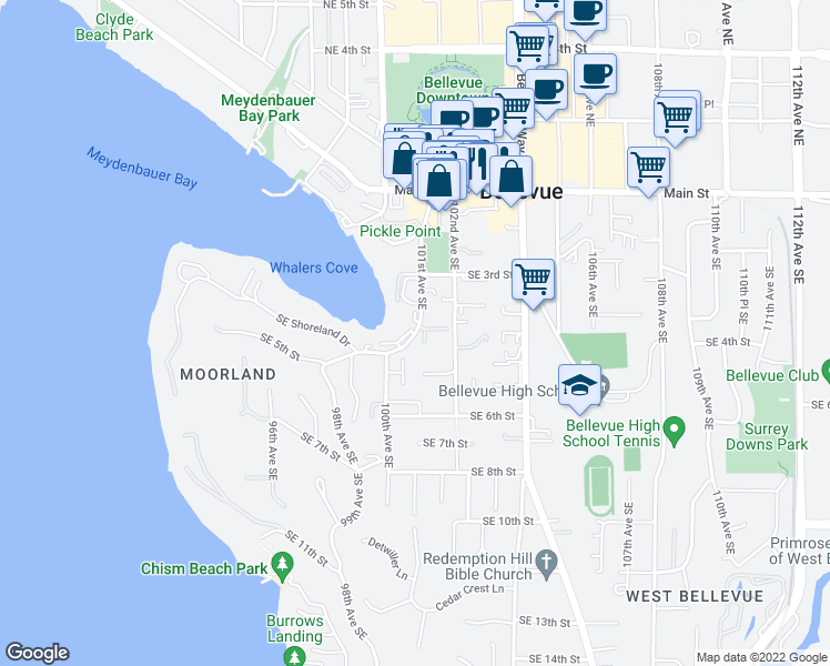 map of restaurants, bars, coffee shops, grocery stores, and more near 330 101st Avenue Southeast in Bellevue