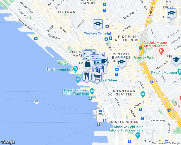 map of restaurants, bars, coffee shops, grocery stores, and more near 1319 Western Avenue in Seattle