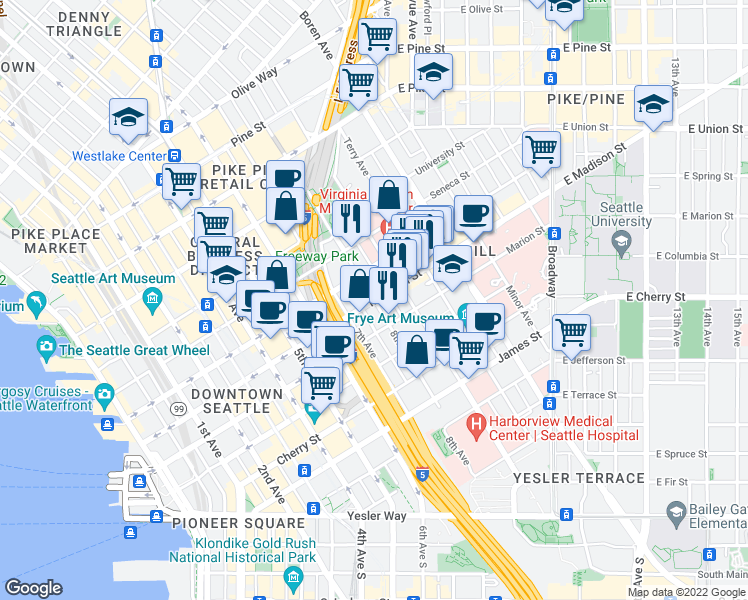 map of restaurants, bars, coffee shops, grocery stores, and more near Madison Street & 8th Avenue in Seattle