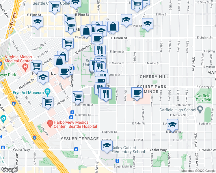 map of restaurants, bars, coffee shops, grocery stores, and more near 1299 E Cherry St in Seattle