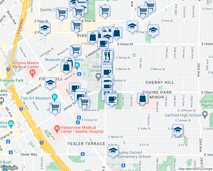 map of restaurants, bars, coffee shops, grocery stores, and more near 722 12th Ave in Seattle