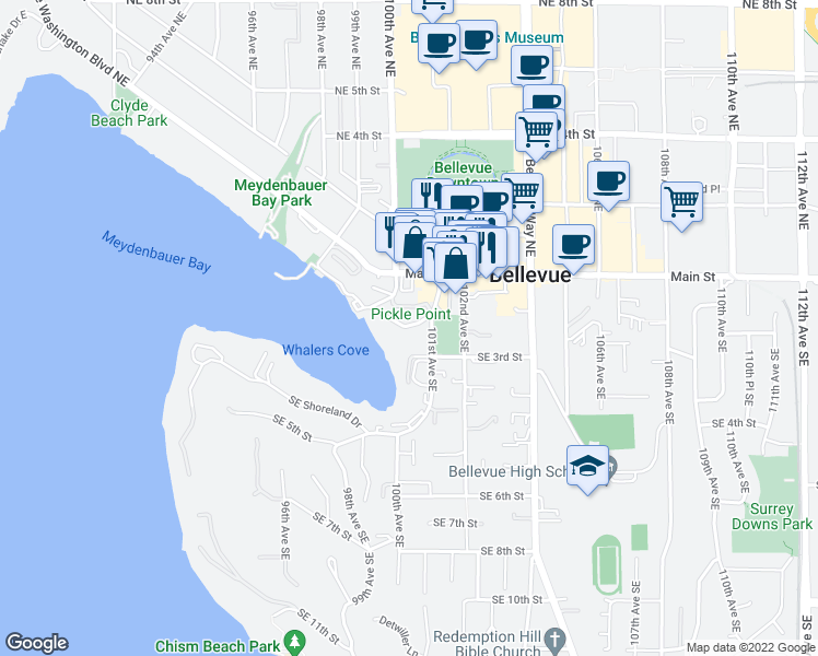 map of restaurants, bars, coffee shops, grocery stores, and more near 10055 Meydenbauer Way Southeast in Bellevue