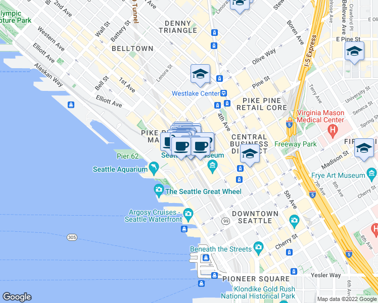 map of restaurants, bars, coffee shops, grocery stores, and more near 1425 1st Ave in Seattle