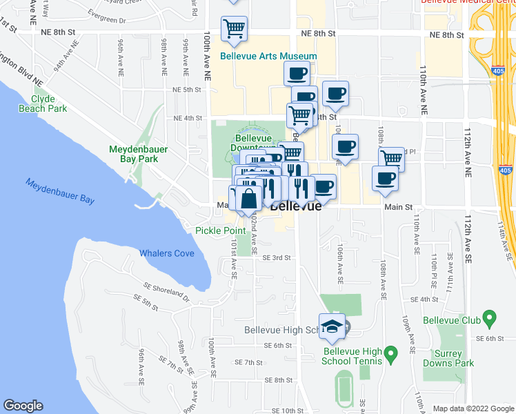 map of restaurants, bars, coffee shops, grocery stores, and more near 10213 Main St in Bellevue