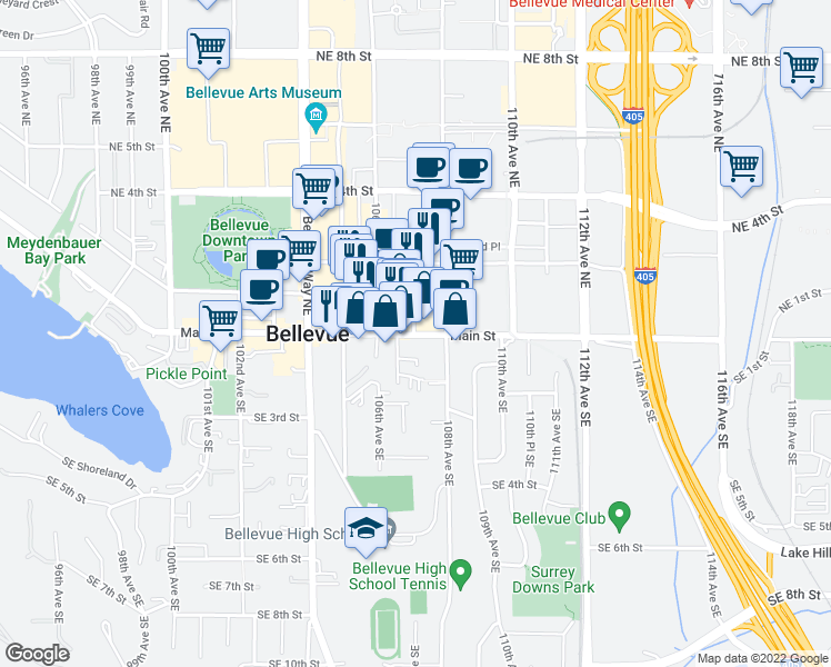 map of restaurants, bars, coffee shops, grocery stores, and more near 10705-10749 Main St in Bellevue