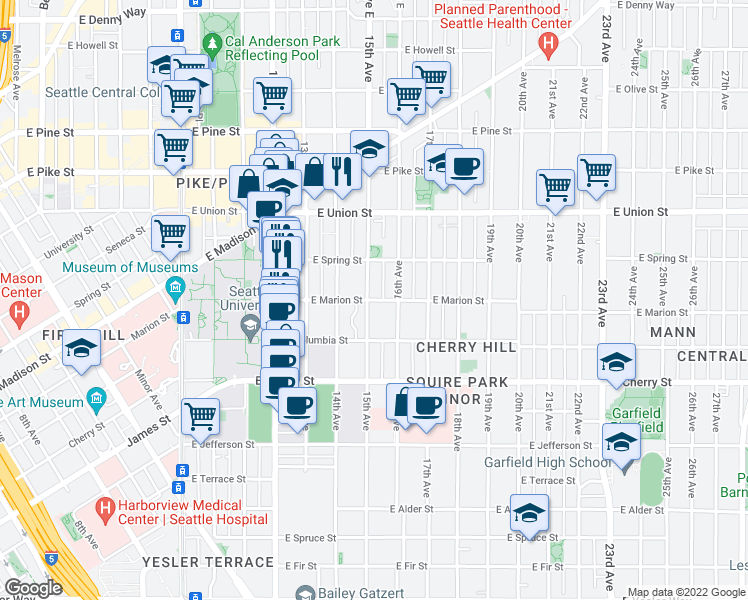 map of restaurants, bars, coffee shops, grocery stores, and more near 1520 E Marion St in Seattle