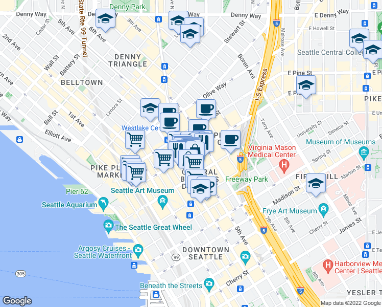 map of restaurants, bars, coffee shops, grocery stores, and more near 5th Ave in Seattle