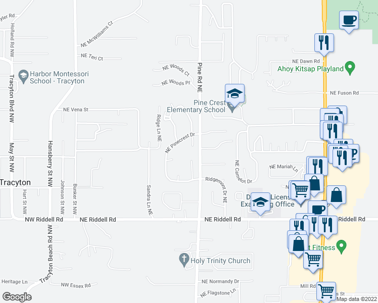 map of restaurants, bars, coffee shops, grocery stores, and more near 5325 Pineridge Drive Northeast in Bremerton