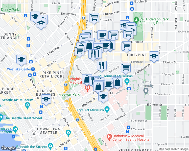 map of restaurants, bars, coffee shops, grocery stores, and more near 1220 Boren Avenue in Seattle