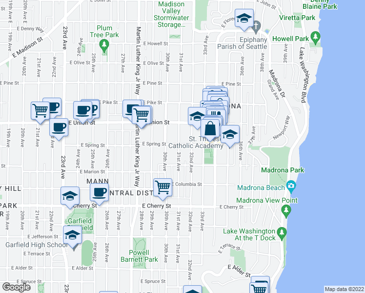map of restaurants, bars, coffee shops, grocery stores, and more near 3105 E Spring St in Seattle