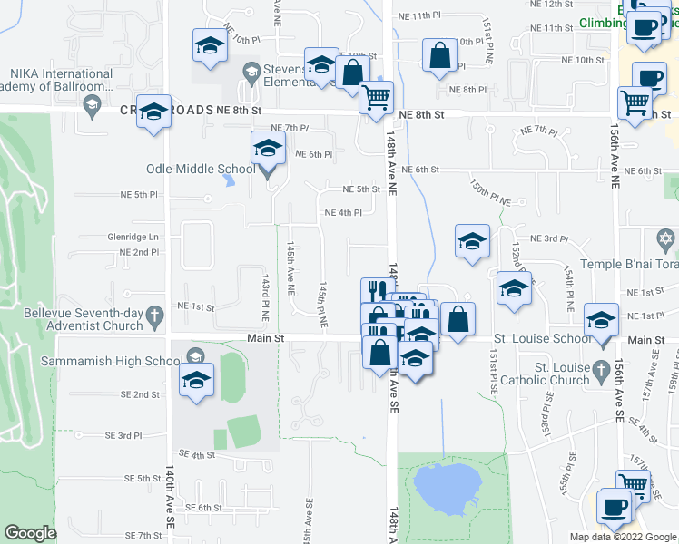 map of restaurants, bars, coffee shops, grocery stores, and more near 261 146th Pl NE in Bellevue