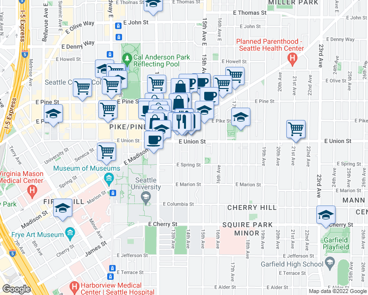 map of restaurants, bars, coffee shops, grocery stores, and more near 1319 East Union Street in