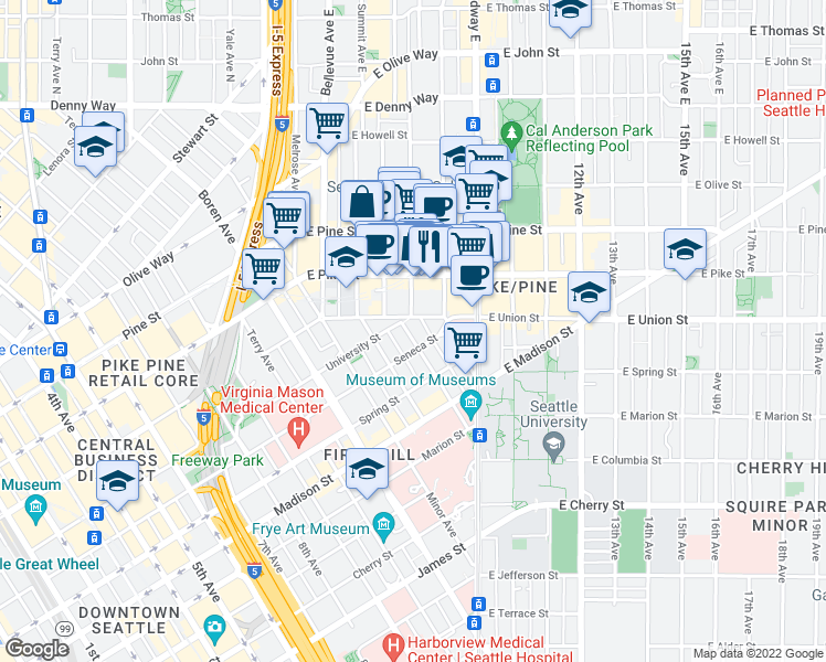 map of restaurants, bars, coffee shops, grocery stores, and more near 1214 Boylston Avenue in Seattle