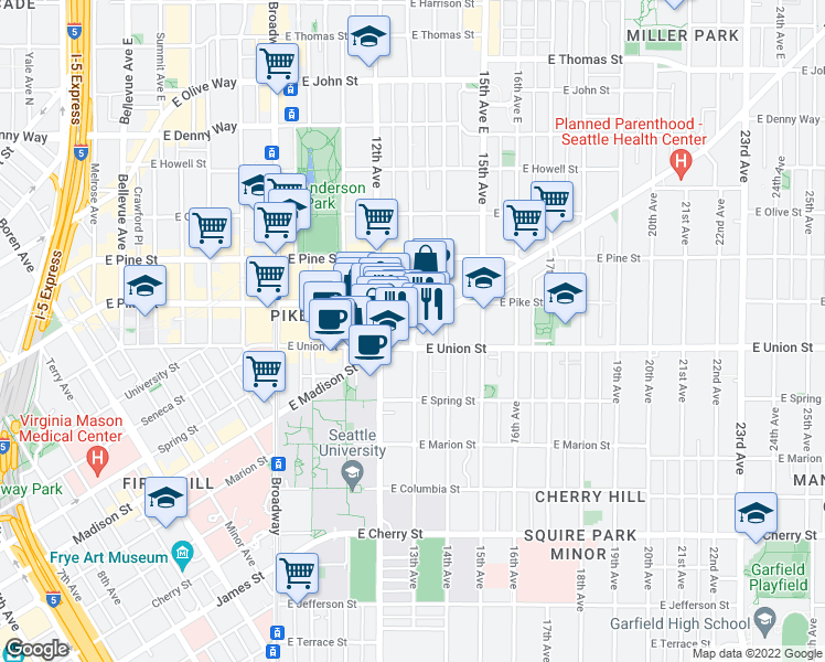 map of restaurants, bars, coffee shops, grocery stores, and more near East Madison Street & 13th Avenue in Seattle