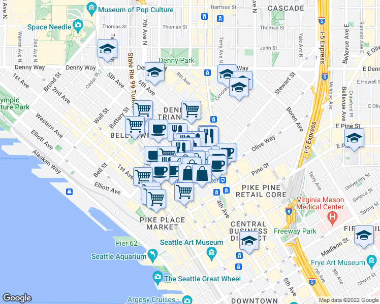 map of restaurants, bars, coffee shops, grocery stores, and more near 2011 5th Avenue in Seattle