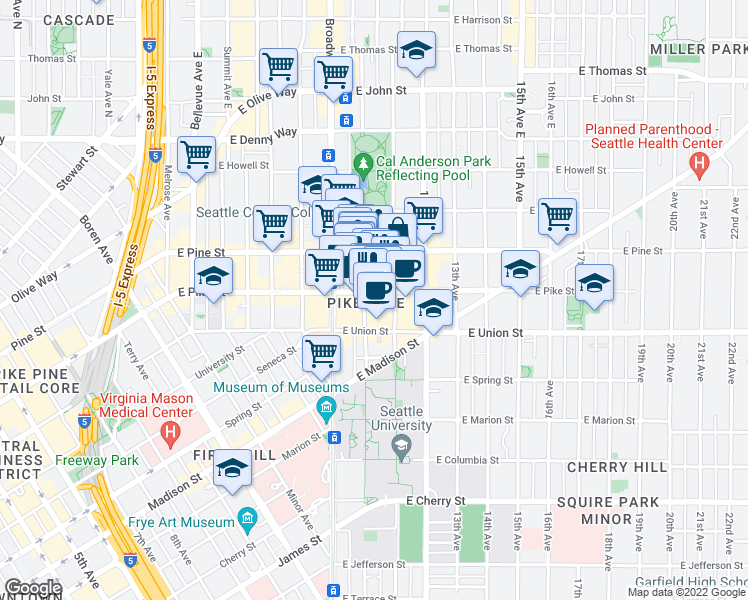 map of restaurants, bars, coffee shops, grocery stores, and more near 1005 East Pike Street in Seattle