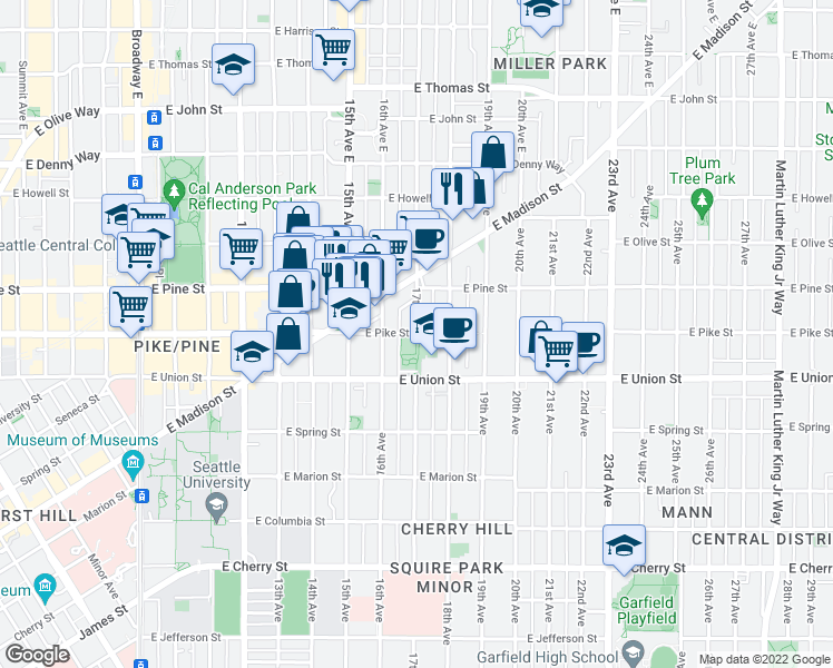 map of restaurants, bars, coffee shops, grocery stores, and more near 1500-1572 17th Avenue in Seattle