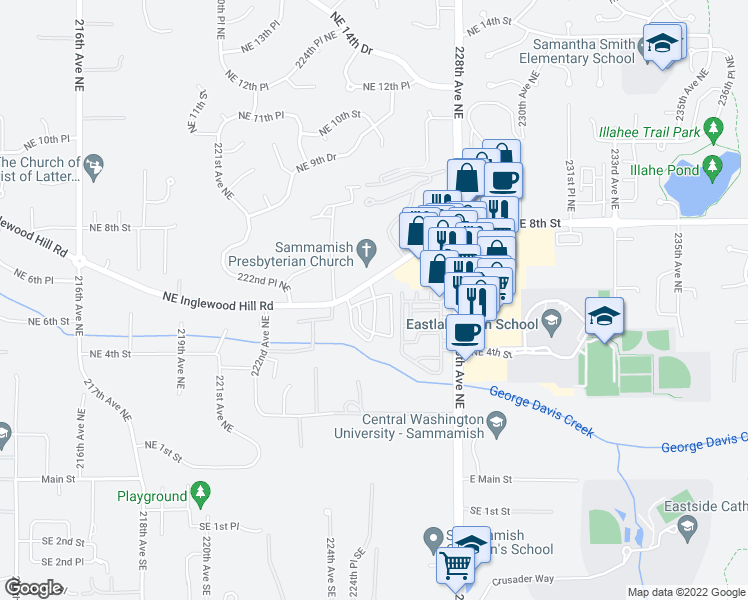 map of restaurants, bars, coffee shops, grocery stores, and more near 501-599 225th Lane Northeast in Sammamish