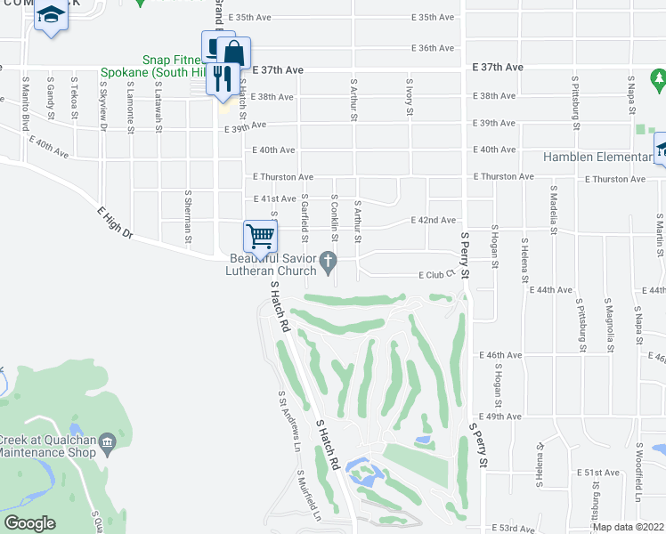 map of restaurants, bars, coffee shops, grocery stores, and more near 942 East 43rd Avenue in Spokane