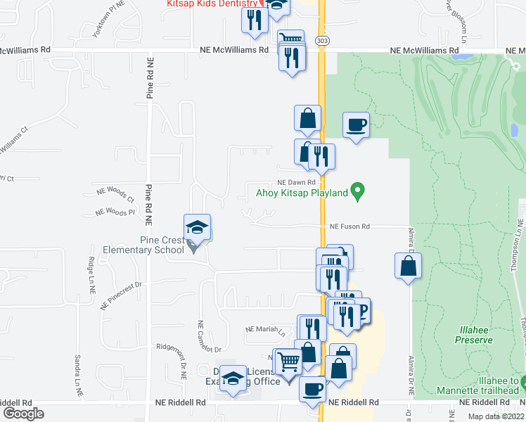 map of restaurants, bars, coffee shops, grocery stores, and more near Jasmine Lane in Bremerton