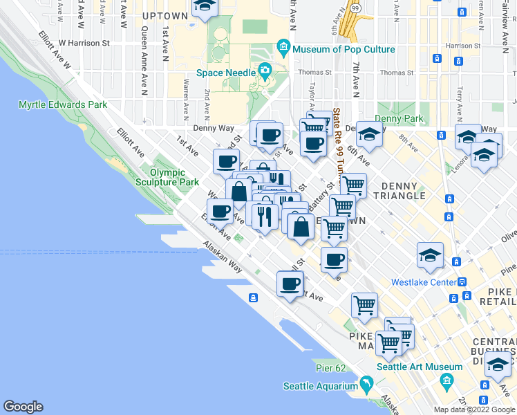 map of restaurants, bars, coffee shops, grocery stores, and more near 1st Avenue & Vine Street in Seattle