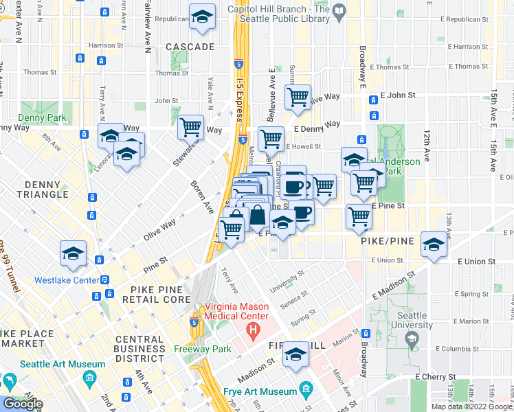 map of restaurants, bars, coffee shops, grocery stores, and more near 1525-1531 Melrose Avenue in Seattle