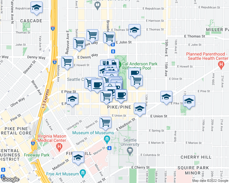 map of restaurants, bars, coffee shops, grocery stores, and more near 917 E Pine St in Seattle