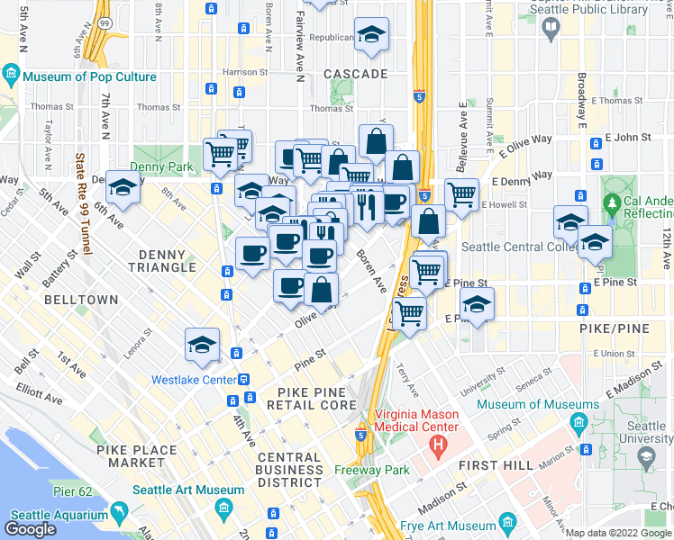 map of restaurants, bars, coffee shops, grocery stores, and more near 1800 Terry Avenue in Seattle