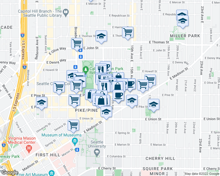 map of restaurants, bars, coffee shops, grocery stores, and more near 1625 13th Avenue in Seattle