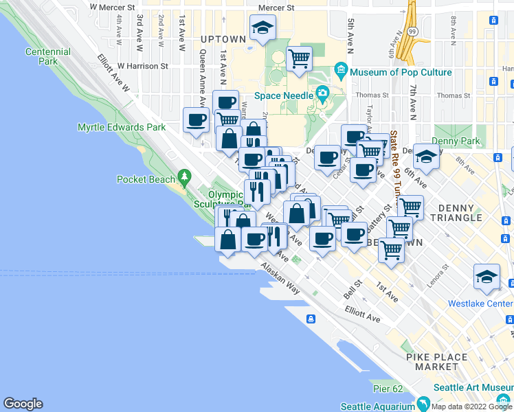 map of restaurants, bars, coffee shops, grocery stores, and more near Broad Street & Western Avenue in Seattle