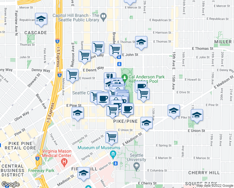 map of restaurants, bars, coffee shops, grocery stores, and more near 1620 Broadway in Seattle