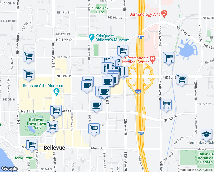 map of restaurants, bars, coffee shops, grocery stores, and more near 11060 Northeast 6th Street in Bellevue