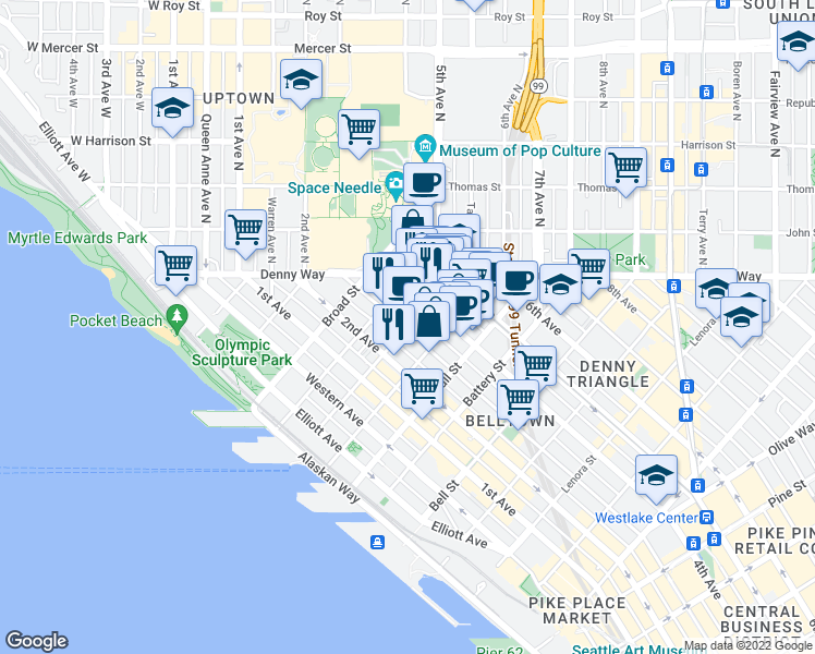 map of restaurants, bars, coffee shops, grocery stores, and more near 2702 3rd Avenue in Seattle